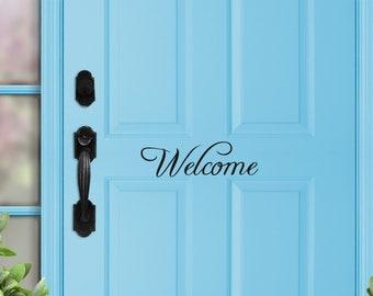 Welcome Door Decal - Door Decal - Front Porch Decal - Entryway Decal - Welcome wall decal - Office Door Decal, Door Welcome Sticker