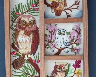 Vintage Owl Crewel Needlepoint finished and framed