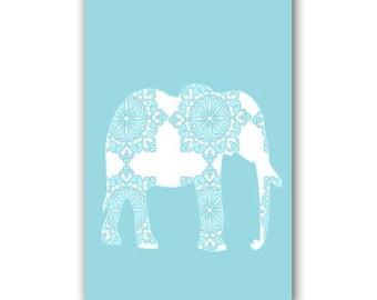 Blue damask Elephant Art  -  Kids Art Prints, nursery print, blue elephant, nursery decorating ideas, nursery elephant