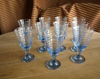 Mold Blown Glass Stemware in Sirrus Misty Blue Footed Rippled Design Water Glasses by Libbey - Set of 10