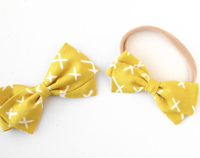 Mustard Hair Bow - Fabric Hair Bows for Girls - Nylon Headbands or Hair Clips for Girls