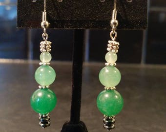 Green Aventurine Dangle Earrings // Silver-Plated and Hematite Spacers // Nickel-Free Hooks // Elegant and Dazzling