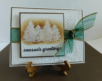 Handmade Christmas Card / Embossed Pine Branches Pine Tree Card, Season's Greetings Card, Embossed Pine, Special Season filled with Love