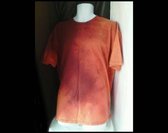 Acid washed XXL shirt No Fear 2xl distressed (not tie dye) tee spice amber ginger cider rust leather earth sandstone t-shirt (shirt no.112)