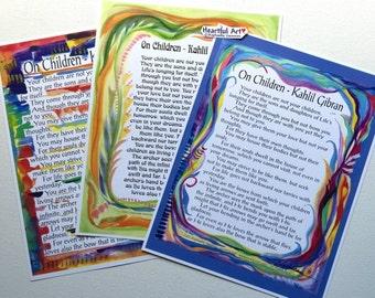ON CHILDREN 8x11 Kahlil Gibran Print Prophet Inspirational QUOTE Baby Shower Gift Nursery Decor Parenting Heartful Art by Raphaella Vaisseau
