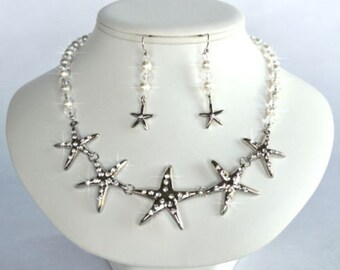Handmade Pearl and Crystal Rhinestone Graduated Starfish Necklace, Destination or Beach Wedding (Pearl-379)