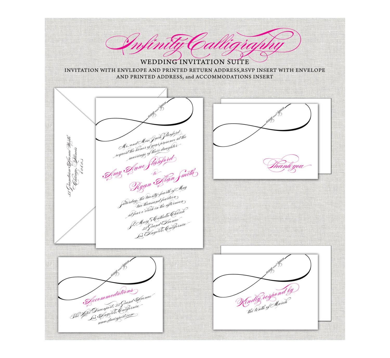 Infinity wedding invitations calligraphy invites magenta zoom biocorpaavc Gallery