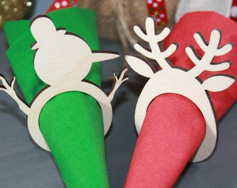 Rustic Christmas Napkin Rings // Holiday Napkin Rings // Reindeer Napkin Rings // Laser Cut Napkin Rings