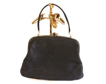 Vintage  Black purse - 1960s Black Satin Clutch evening purse