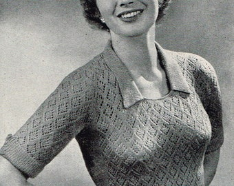 Vintage 50s Knitting Pattern - Women's Lacy Jumper with Contrasting Collar & Cuffs - PDF Downloadable Pattern - 1950's retro Ladies Sweater