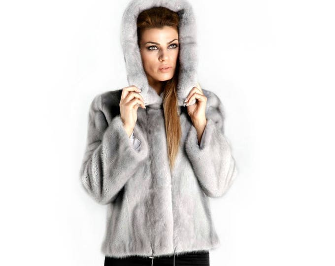 Real Mink Fur with Hood Jacket,Luxury Gray Fur Coat F359