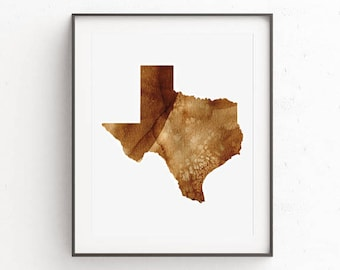 Texas State Watercolor Print - Home Decor - Home Office Decor - Downloadable - Printable