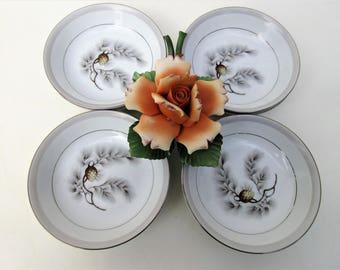 Vintage Kent China Bowls | Fruit Bowls | Sauce Bowls | Dessert Bowls | Finger Bowls | Silver Pine Bowls | Small Bowls | Set of 8