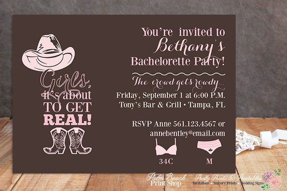 Cowgirl Bachelorette Party Invitations Printable Country