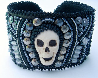 Halloween Goth Skull and Nailheads Bead Embroidered Cuff Bracelet