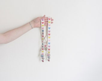 1980s love heart suspenders . novelty colorful rainbow braces .extra small.xs .sale