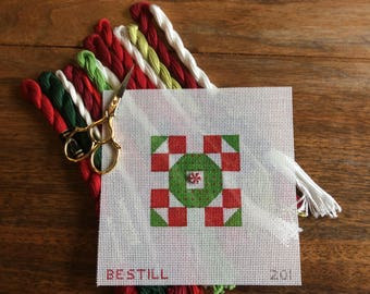 Christmas Quilt: a hand-painted needlepoint canvas