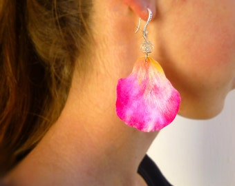 Rose petal earrings Big earrings Long earrings Flowers jewelry Unique earrings rose petal jewelry Light earrings Gift for women