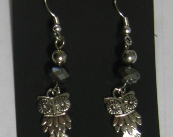 Silvertone Owl Earrings with Crystals and Silver Plate Wires