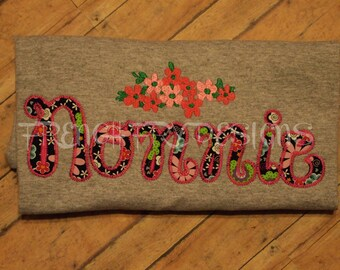 NONNIE applique Sweatshirt for Grandmother Customized and Personalized