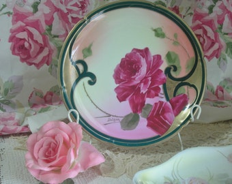 Austrian Hand Painted Roses Porcelain Plate, Artist Signed, Imperial Mark, Cottage, Shabby Chic