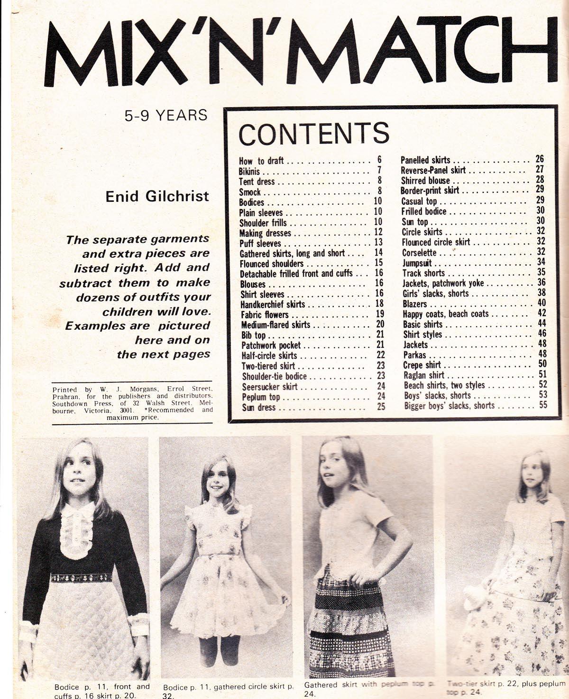 70er Jahre Vintage Kinder Schnittmuster Ausarbeitung Buch Enid ...
