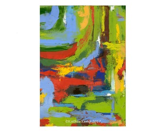 Bold Modern Art Print of Oil Painting Abstract Statement Piece Wall Decor Full spectrum of bright colors Masculine Art Giclee Digital Print
