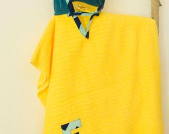 Hooded Towel Poncho, in Yellow & Navy. Boy or Girl print (your choice). Bath Towel. Beach towel.