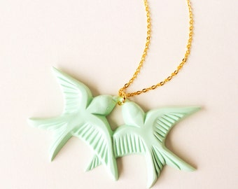 Mint green vintage plastic swallow love birds gold necklace