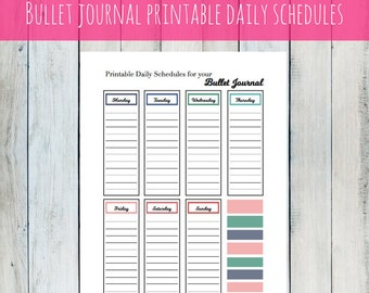 Printable bullet journal daily shedules
