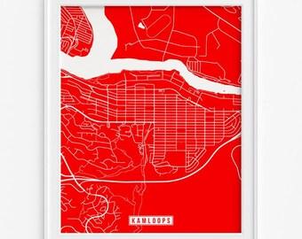 Kamloops Map, Canada Poster, Kamloops Print, Kamloops Poster, Canada Print, Canada Map, British Columbia, Street Map, Mothers Day Gift