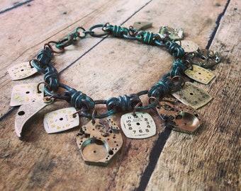 Steampunk Watch Part Bracelet, Watch Movement Bracelet, Vintage Bracelet, Weathered Rustic Jewelry, Steampunk Jewelry, Watch Jewelry,