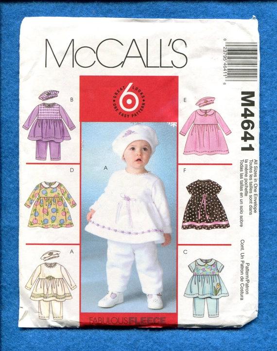 McCalls 4641 kleines Baby Mädchen Kleider Beret & Hose Muster