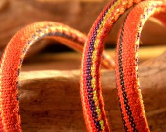 90 CM cotton cord ethnic 6 mm - orange and Red - CE 7