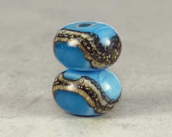 Ocean Blue Glass Lampwork Bead Pair, Glass Beads, Glass Lampwork, Lampwork Beads, 2 Glossy 11x7mm Atlantis
