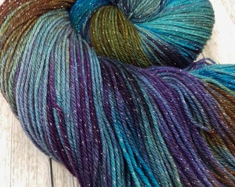 Another Dimension, New Galaxy - Hand Dyed Yarn - Fingering Weight - SW Merino / Nylon / Lurex / 100g