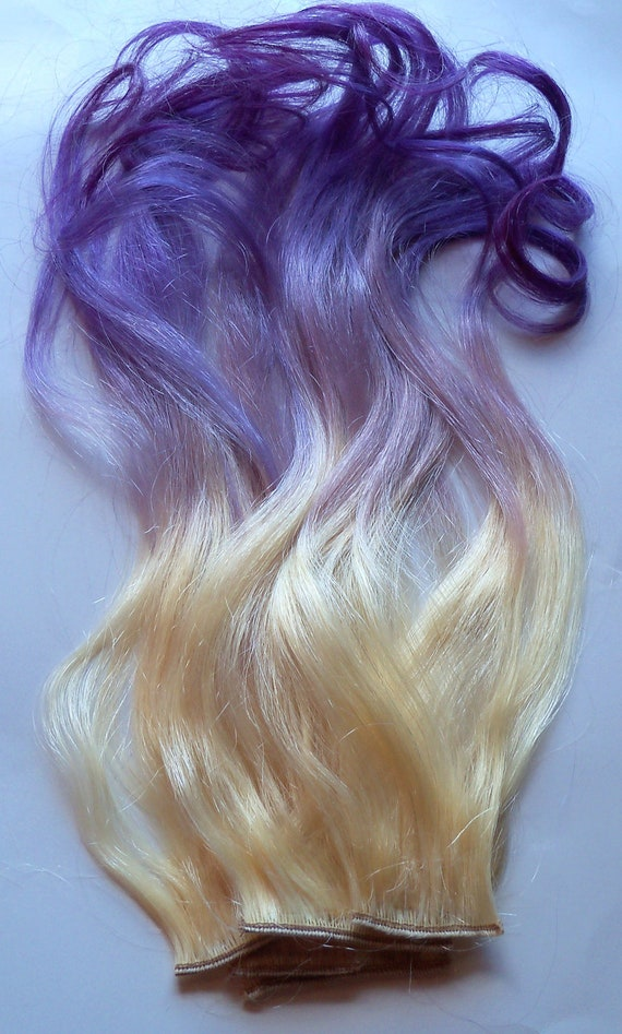 Purple and blonde ombre fade dip dye clip in human hair purple and blonde ombre fade dip dye clip in human hair extensions set double layered pmusecretfo Choice Image