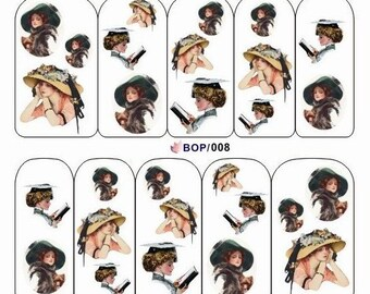 BOP-008 Nail Art Water Decal Nail Art Water Transfer Sticker DIY Nail Art