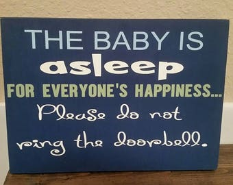 The baby is asleep sign