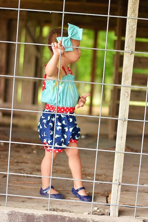 Girl's Summer Romper Aqua Blue Bird - Red White and Blue Romper - Blue Bird - Summer Romper - Halter Romper