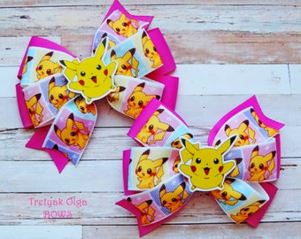 Pokemon Hair Bows Pikachu Hair Bow Pokemon Birthday Pokemon Go Bow Pokemon Party Pokemon Bows Anime Hair Bow Pokemon Pigtails Pinwheel Bow