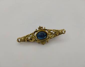 1928 Jewellery Company Blue Cabochon  Brooch  Victorian Brooch Edwardian pin