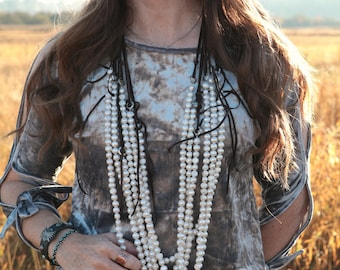Stella Leather and Cultured Pearl Elegant Western Necklace--Rosary Style, Turquoise, Cross, Leather