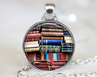 BOOK ART PENDANT, Library Books Necklace, Book Pendant, Book Lover Keychain, Book Jewelry, Gift for Readers Librarian, Bookshelf necklace