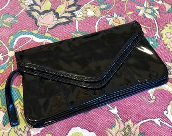 LARGE Vintage Holiday Fair Patent Leather Clutch