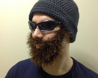 Handmade crochet beard hat beard beanie dark gray hat with handmade crochet beard hat beard beanie dark gray hat with brown beard irish dt1010fo