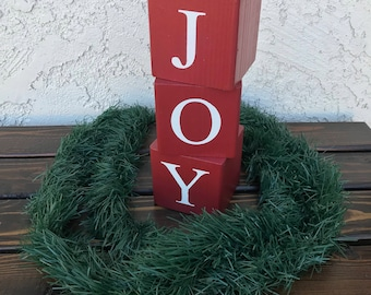 Joy Christmas Wood Blocks