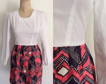1970's Two Tone Polyester Mini Dress Mod Retro Dress Size XS Small by Maeberry Vintage