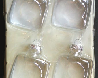 "Package of 4 SQUARE CLEAR GLASS Ornaments 2"" x 2"" x 2 5/8"" Christmas Easter Crafts Vintage Supplies Silver Cap"