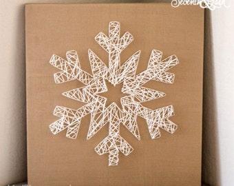 Christmas hand print plate familykids craft party kids diy kit create your own snowflake string art do it yourself snowflake string art string art holiday decor winter christmas solutioingenieria Gallery